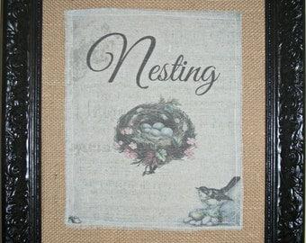 "Black Framed ""Nesting"" printed muslin photo on burlap in  14X 16 frame"