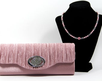 Mother's Day Gift - Evening Bag & Necklace - Pink Evening Bag with Gorgeous Swarovski and Pave' Crystal Handle That Doubles As A Necklace