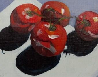 Tomatoes II, original acrylic still life painting