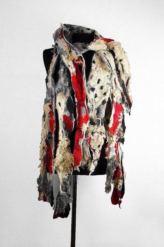 grey scarf designer scarf felted scarf wool scarf nunofelt