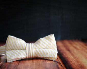 Men's Self-Tie Freestyle Pre-Tied Bow Tie - Yellow Seersucker