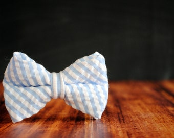Men's Self-Tie Freestyle Pre-Tied Bow Tie - Light Blue Seersucker