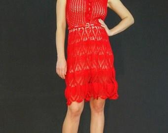 Red exclusive crochet dress - fantasy spring - summer