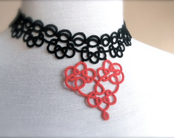 "Heart lace choker - necklace - black, red - ""Sweetheart"" collection"