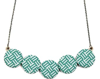 Emerald Green and White Basketweave Statement Necklace