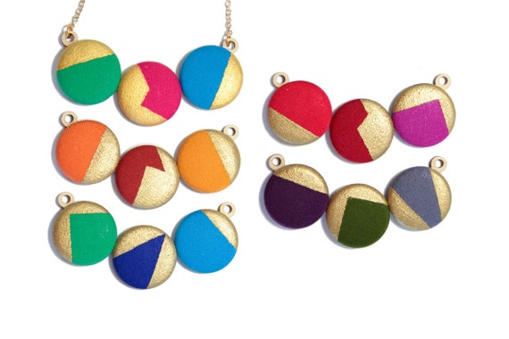 Vibrant Geometric Metallic Gold Necklace - Hand Painted