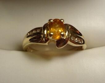 14k Yellow Gold Citrine & Diamond Ring size 9 Art Deco Orange Birthstone Birthday Anniversary Womens Yellow Gold Ring