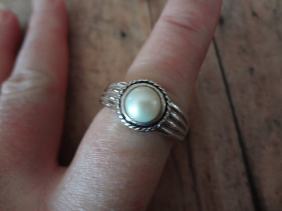 Silver Pearl Ring 925 Sterling Silver Size 10 Wedding Bride Gift Birthday Mom Mother in Law