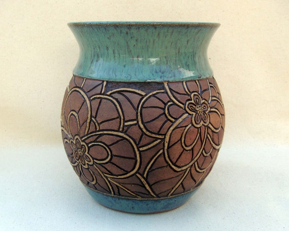 Hand Carved Pottery Vase Mosaic Look Flower By KittingerClay