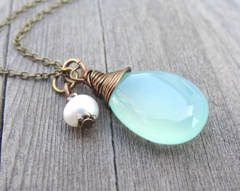 Bronze Wire Wrapped Aqua Blue Chalcedony with Freshwater Pearl Charm Handmade Pendant Necklace