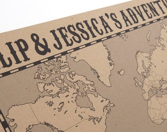 Personalised World Map - Large Eco Wall Map