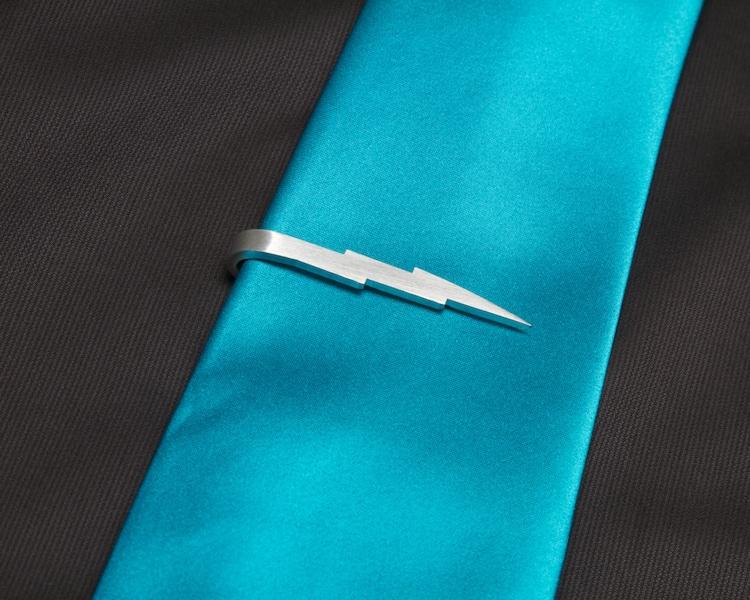 Handmade aluminum lightning bolt tie clip