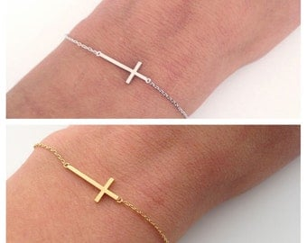 Sideways cross bracelet - Delicate everyday jewelry - Cross bracelet - Dainty cross - Christmas Gift for her