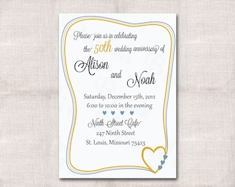 5x7 Anniversary Party Custom Printable Invitation