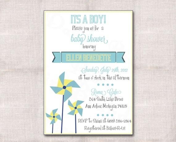 5x7 Pinwheel Baby Shower Custom Printable Invitation