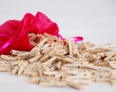 "1"" Mini Wooden Clothespins - 50 Hand-Stained Clothespins - Unfinished Clothespin - Cute Mini Clothespins in a Muslin Bag"