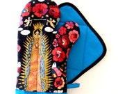 Guadalupe Virgin Mary with Blue Trim Oven Mitt Pot Holder Set