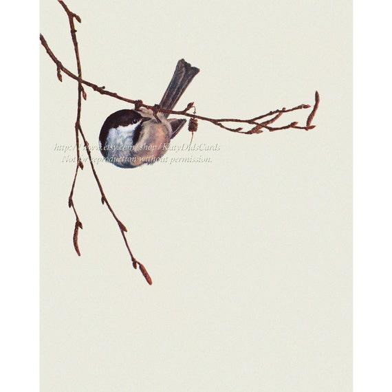 Chickadee Bird Fabric Block - Repro from Prang 1889 Image