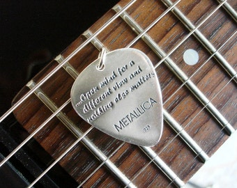 Silver Guitar Pick with silver ball chain Metallica Lyrics, Metallica jewel,Personalized guitar pick,Custom guitar pick,Guitar pick necklace
