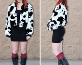 Fuzzy puffy cow print coat