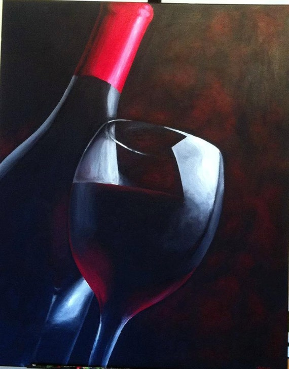 Large red wine painting by artofsarahjane on etsy for Wine and painting mn