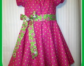 Pink/Green dots Twirley Dress