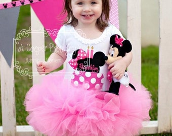 Minnie Mouse Inspired Hot Pink Birthday Cake Tutu Dress Infant Toddlers Girls Long Sleeves Available
