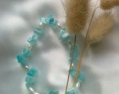 Blue and White Beaded Stretch Bracelet Handmade