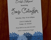 Modern Floral Bridal Shower 4x6 Custom Printable Invitation, Digital Invitation
