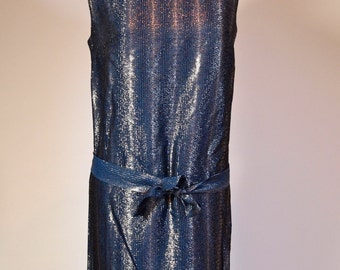 Vintage 1960s royal blue and metallic silver thread lurex shift dress with belt