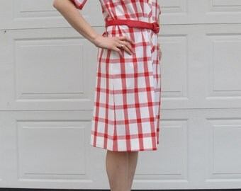 1960s large red gingham print picnic dress