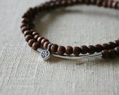 Chocolate brown stacked bracelets // Karen Hill Tribe // floral flower lotus // silver // yoga mala // minimal // eco // handmade
