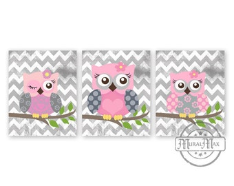 Owls Nursery Art  -  Nursery art Set of 3 - 8X10  Prints - owls -  Pink  and Gray Nursery Print - Owl Decor for Girl Room
