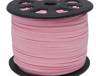 Bubblegum Pink Vegan Faux Suede Flat Cord 3mm