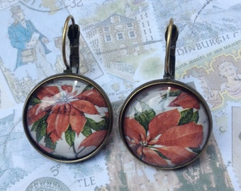 Christmas Poinsettias One of a Kind Glass Dome Earrings Handmade with Real Vintage Postage Stamp, 20mm, 20-000036