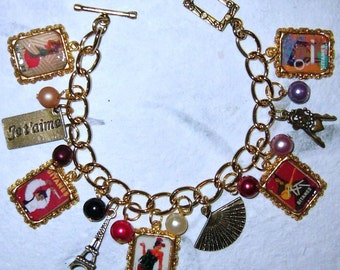 Gitanes Vintage Cigarette Ads Altered Art Charm Bracelet. Handmade One of a Kind. French, France, Eiffel Tower and Bronze Tone Charms.