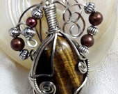 Wire wrap Jewelry Natural Stone Tiger Eye Cabochon Pendant with Brass and Silver tone Bead on Black Suede Necklace Steampunk Gifts Under 25