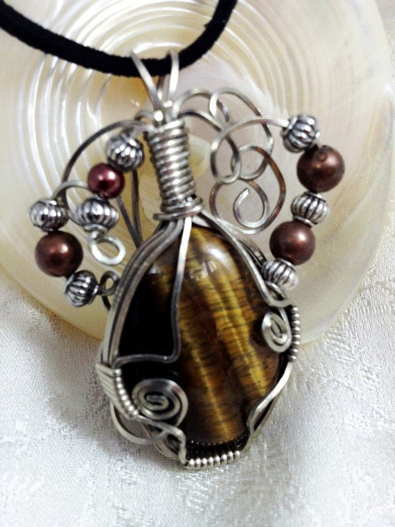 Wire Wrap Jewelry Natural Stone Tiger Eye Cabochon Pendant