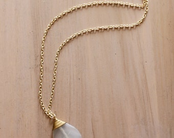Large White Teardrop Pendant Necklace