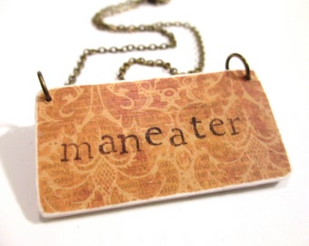 80s inspired necklace hall and Oates maneater stamped necklace paper necklace