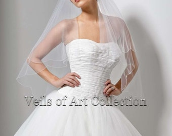 Handcrafted Bridal Fingertip Veil with Scalloped Beaded Edge & Crystal Drops Style VE163