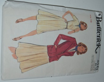 Vintage 70s Butterick 5544 Misses Dress and Jacket Sewing Pattern - UNCUT - SIze  18