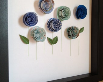 3D Paper Blue Rose Garden , 3D Paper Art, Customize with your colors and personalize, framed and lovely