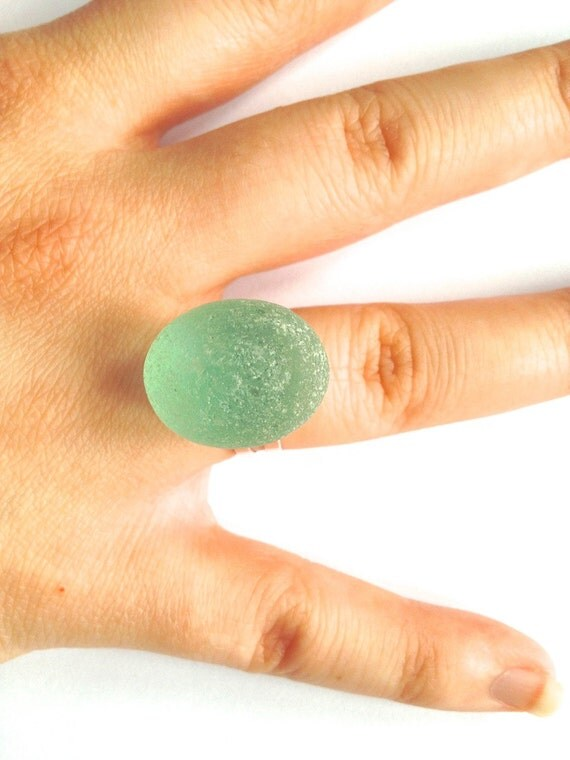 Egg-shaped sea glass ring, seafoam sea glass, adjustable ring, silver plated, seaglass, glass ring, handmade