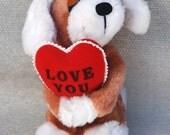 "Vintage 1976 R. Dakin ""LOVE YOU"" Plush Puppy"