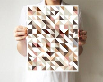 Triangles print, Abstract art, Geometric print, Abstract poster, Minimalist print, Pattern print, Home art, Triangles art, Dark red, Blue