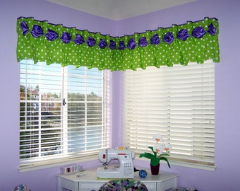 """Pleated DANIELLE  Hidden Rod Pocket Valance fits 63""""- 80"""" window, Made To Order using your fabrics, my LABOR and lining"""