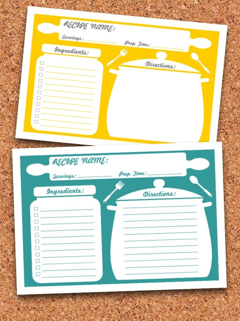 Recipe cards printable editable instant download for Free editable recipe card templates for microsoft word