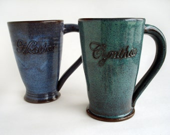 Personalized mug, Custom pottery name cup, Hand carved stoneware