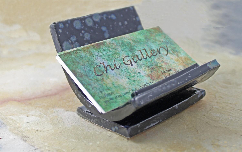 Handmade ceramic business card holder unique card by for Ceramic business card holder